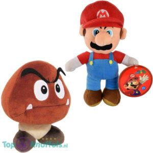 Super Mario Bros 28 cm + Goomba 15 cm Pluche Knuffel Set