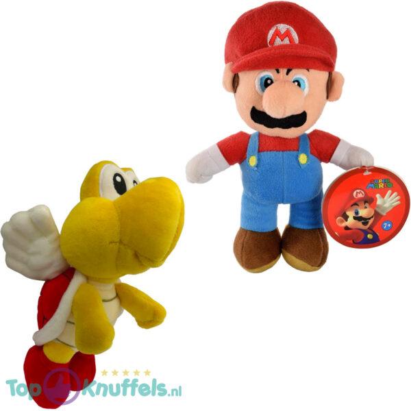 Super Mario Bros 28 cm + Koopa Paratroopa 20 cm Pluche Knuffel Set