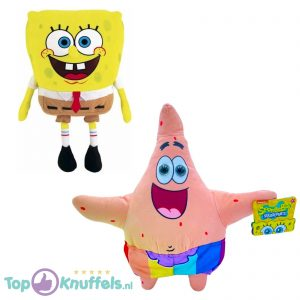 Spongebob Squarepants Pluche Knuffel 18 cm + Patrick Ster Regenboog Pluche Knuffel 34 cm