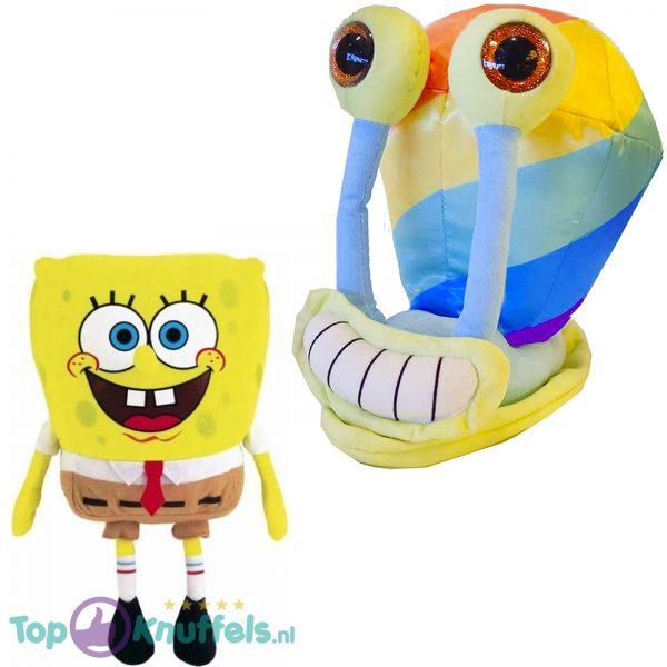 Spongebob Squarepants Pluche Knuffel 18 cm + Gary de Slak Regenboog Pluche Knuffel 22 cm