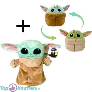 Disney Star Wars The Mandalorian - Yoda Pluche Knuffel 26 cm + The Child Mood (Omkeerbaar) 10 cm