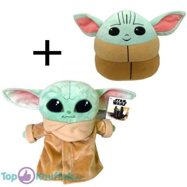 Disney Star Wars The Mandalorian - Yoda Pluche Knuffel 26 cm + Baby Yoda Knuffel 10 cm