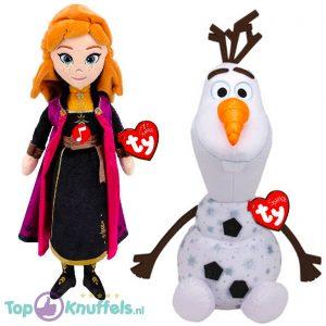 Olaf met Geluid XL 55 cm + Prinses Anna 24 cm Disney Frozen 2 Pluche Knuffel Set